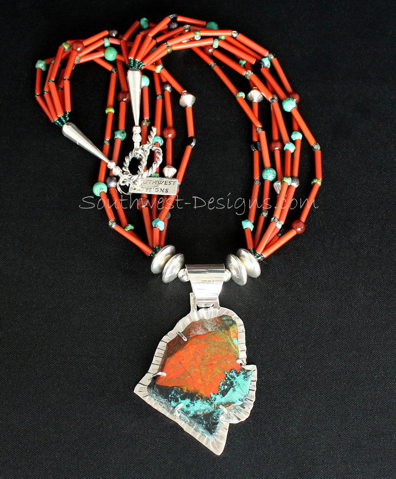 Sonora Sunset and Sterling Silver Post-Set Pendant with 6 Strands of Vintage White Hearts, Mixed Gemstones and Sterling