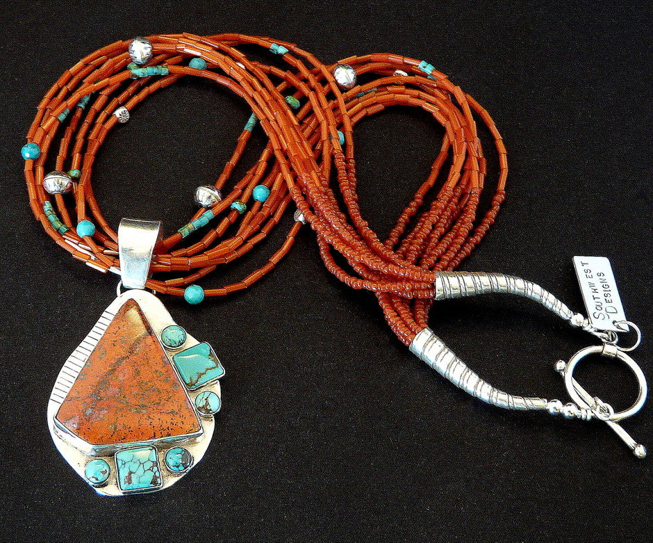 7-Stone Sonora Sunset, Turquoise & Sterling Pendant with 8 Strands of Pote Beads, Turquoise & Sterling