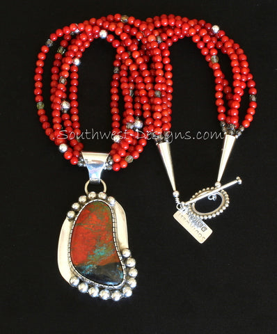 Sonora Sunset and Sterling Silver Pendant with 5 Strands of Coral Rounds, Fire Polished Glass, and Sterling Silver Rondelles & Rounds, Cones & Toggle Clasp