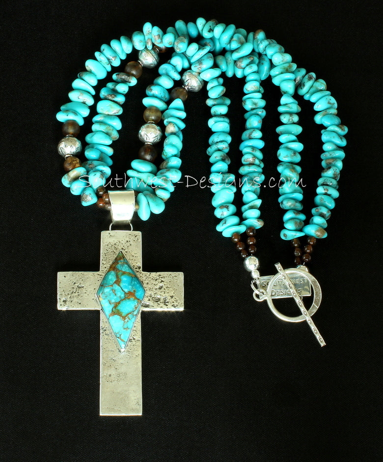 Sonoran River Turquoise and Reticulated Silver Cross Pendant with 2 Strands of Turquoise Nuggets, Amber Quartz & Sterling