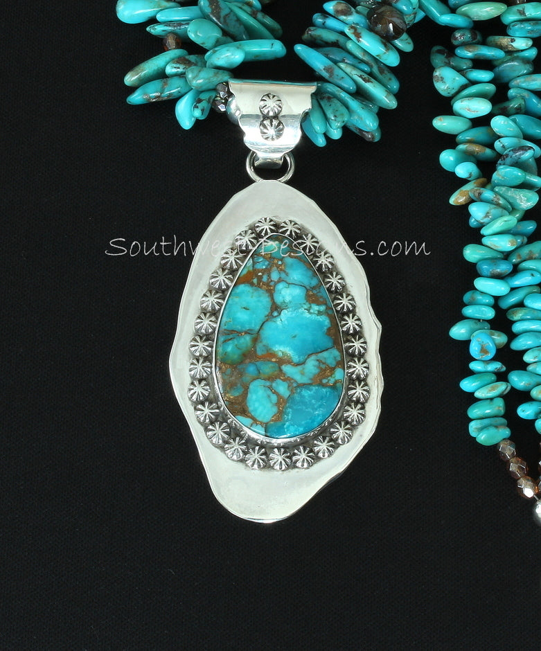 Sonoran River Turquoise & Sterling Silver Concho Pendant with Turquoise Long Chip, Czech & Fire Polished Glass, and Sterling Silver