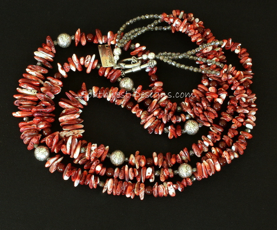 Spiny Oyster Shell Long Chip 3-Strand Necklace with Carnelian and Sterling Silver