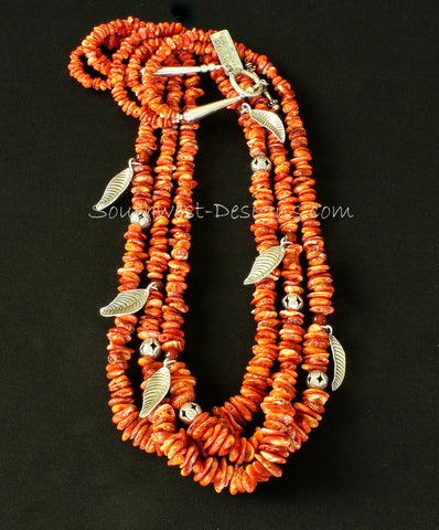 Spiny Oyster Shell Nugget 3-Strand Necklace with Carnelian, Sterling Silver Leaf Charms, and Sterling Beads & Toggle Clasp