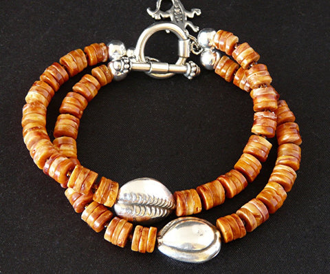 2-Strand Spiny Oyster Shell Bracelet with Sterling Silver Teardrops