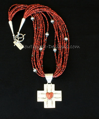 Spiny Oyster  Shell and Sterling Silver Cross with Indonesian Glass and Sterling