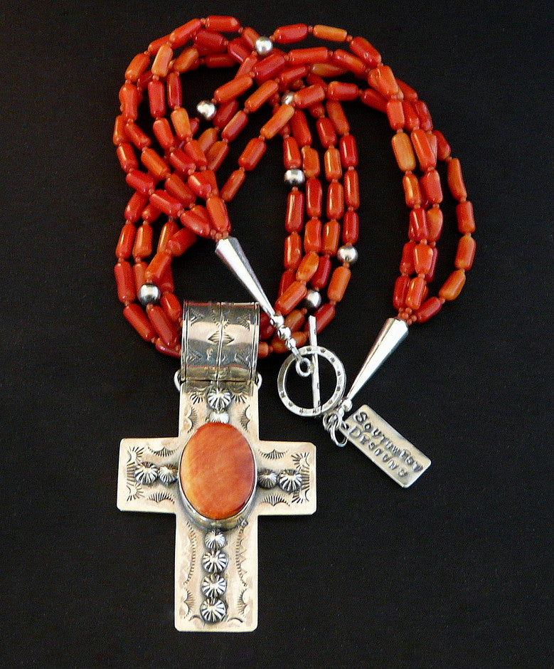 Spiny Oyster Shell and Sterling Silver Cross with 4 Strands of Coral Ovals and Sterling