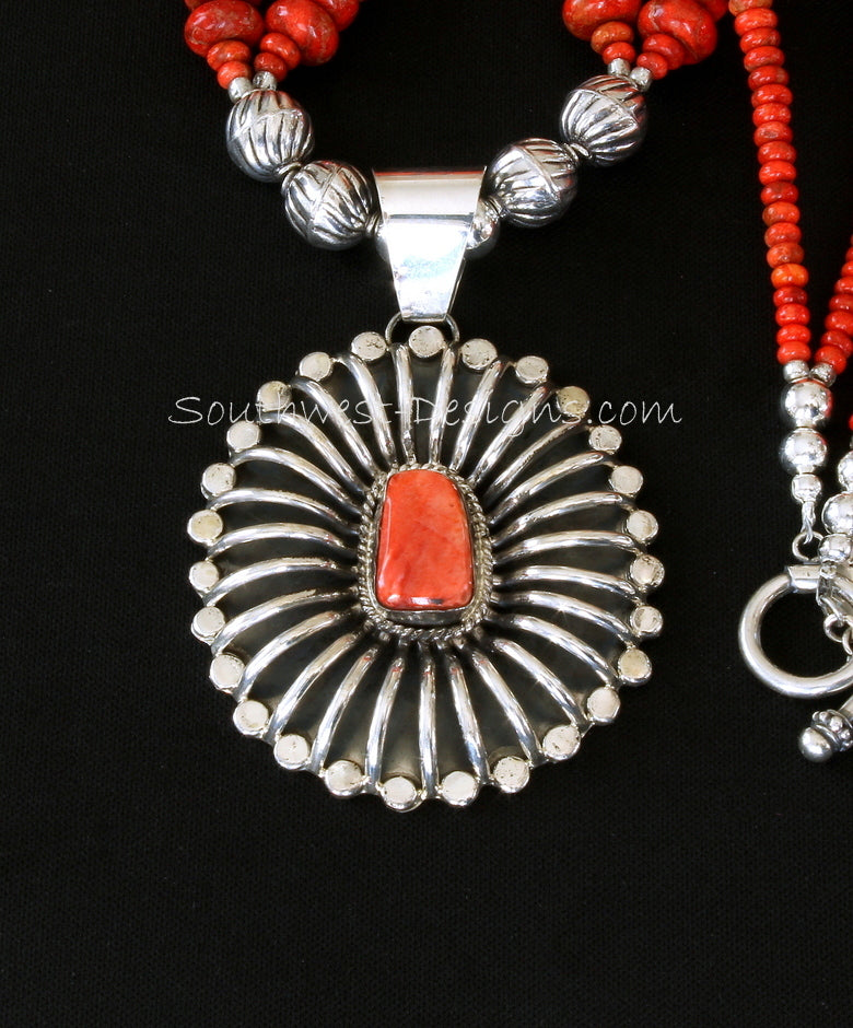 Betta Lee Spiny Oyster Shell and Sterling Silver Pendant with Apple Coral Rodelles and Sterling Silver