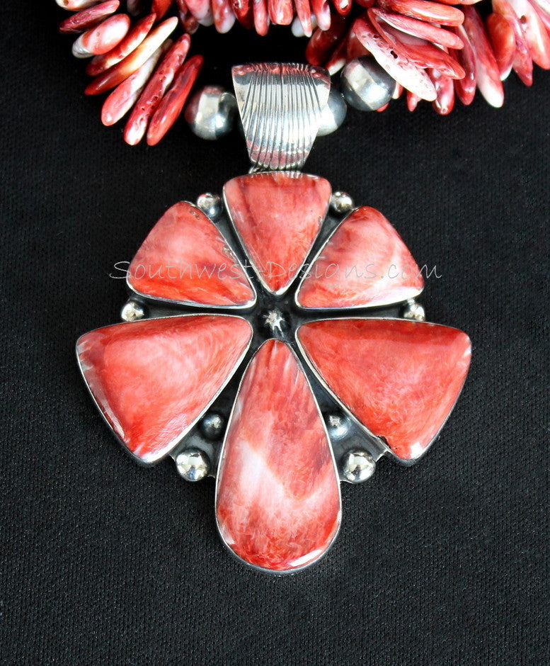 6-Stone Spiny Oyster Shell and Sterling Silver Pendant with 3 Strands of Spiny Oyster Shell Long Chip & Rondelles