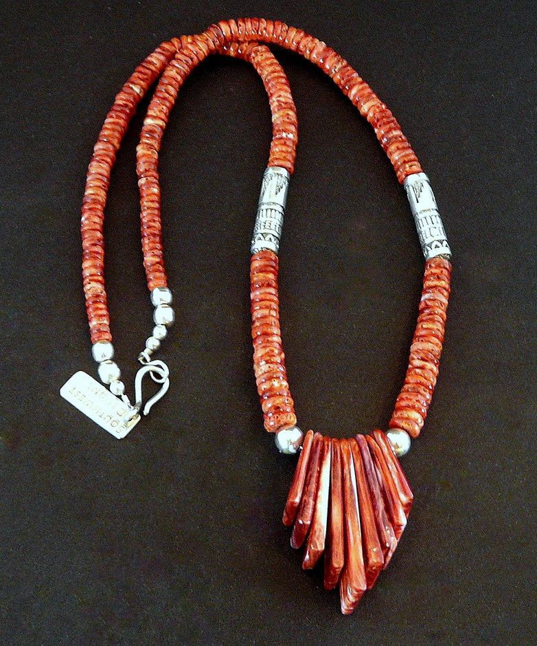 Red Spiny Oyster Shell Heishi Necklace with 9-Piece Fan Set and Sterling Silver