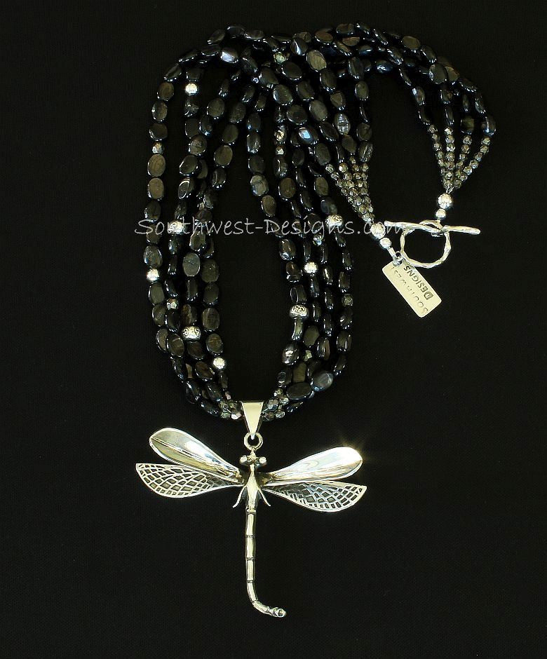 Sterling Silver Dragonfly with 4 Strands of Black Hypersthene Ovals and Sterling Silver