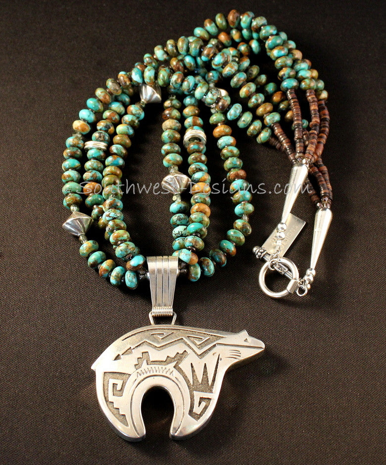 Sterling silver navajo bear pendant with 3 strands of kingman sterling silver navajo bear with kingman turquoise aloadofball Images