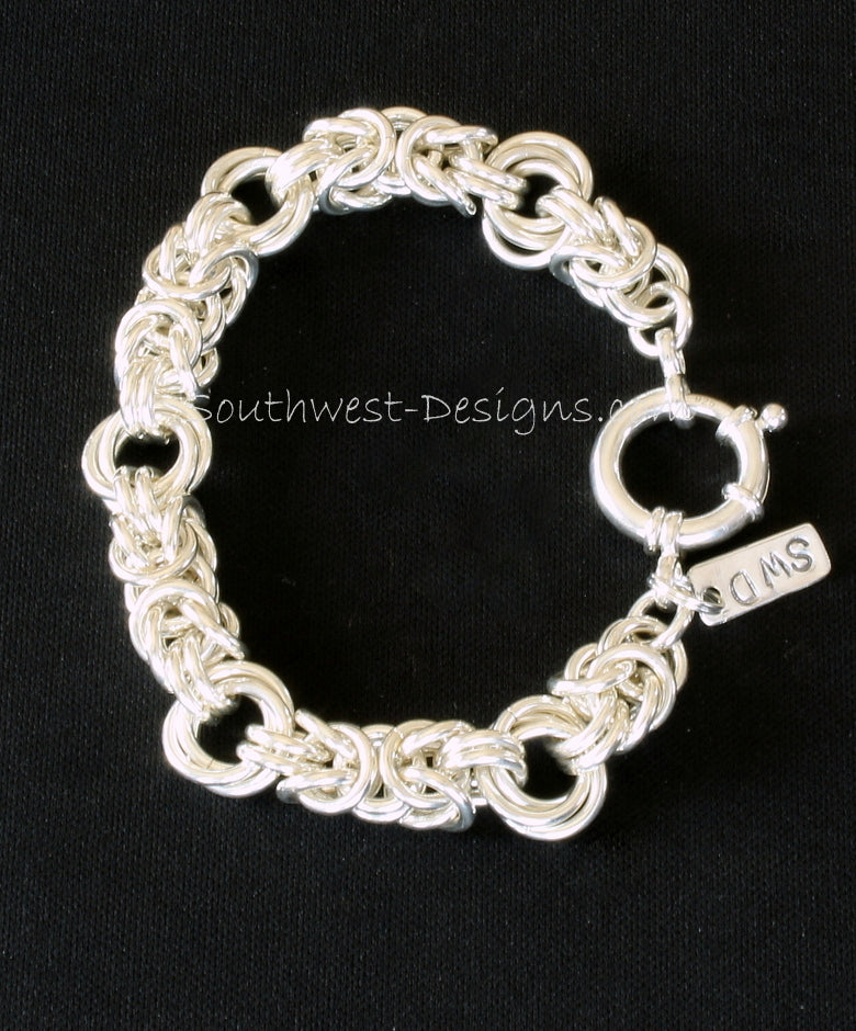 Byzantine Rose Chain Sterling Silver Bracelet with 18mm Sterling Silver Spring Ring Clasp