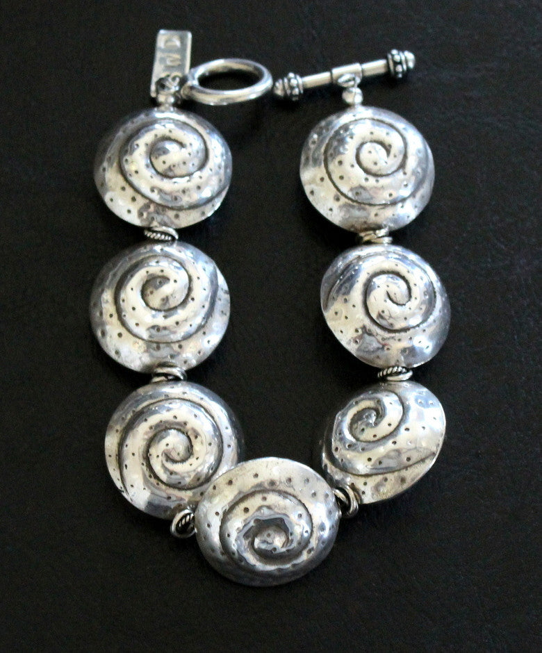 Sterling Silver Coiled Shell Bead Bracelet with Sterling Double Ring Spacers and Toggle Clasp
