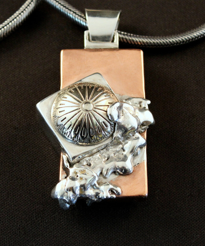 Sterling Silver and Copper Box Pendant with Vintage Button Cover and Reticulated Silver