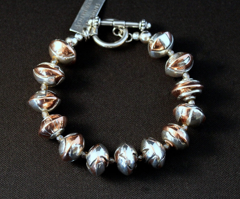 Handcrafted Sterling & Copper Bead Bracelet with Czech Glass