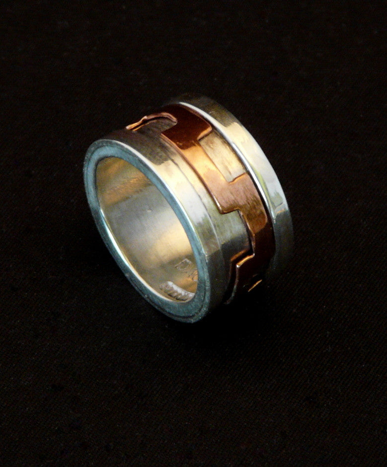 Hand Rolled Sterling Silver Channel Ring with Copper Spinner