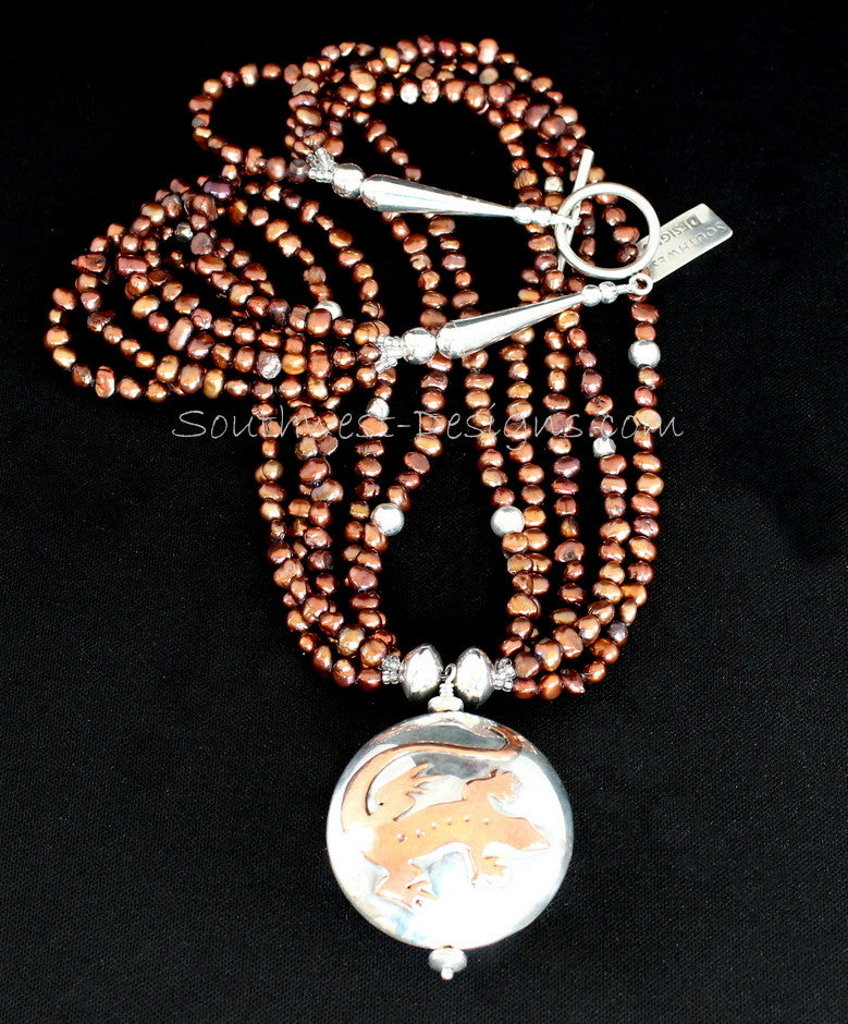 Sterling and Copper 2-Sided Gecko & Coyote Pendant with Freshwater Pearls
