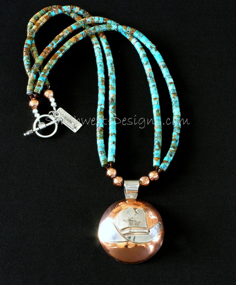 Sterling and Copper Domed Cowboy Hat Pendant with Kingman Turquoise, Copper & Sterling