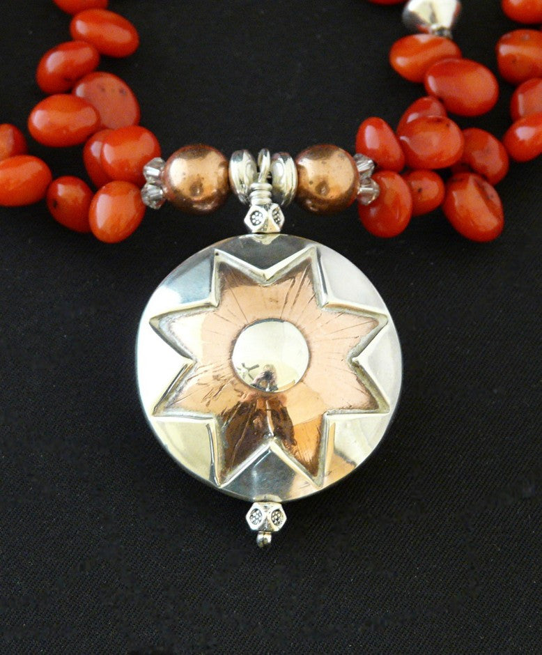 Reversible Sterling Silver, Copper and Coral Pendant Necklace