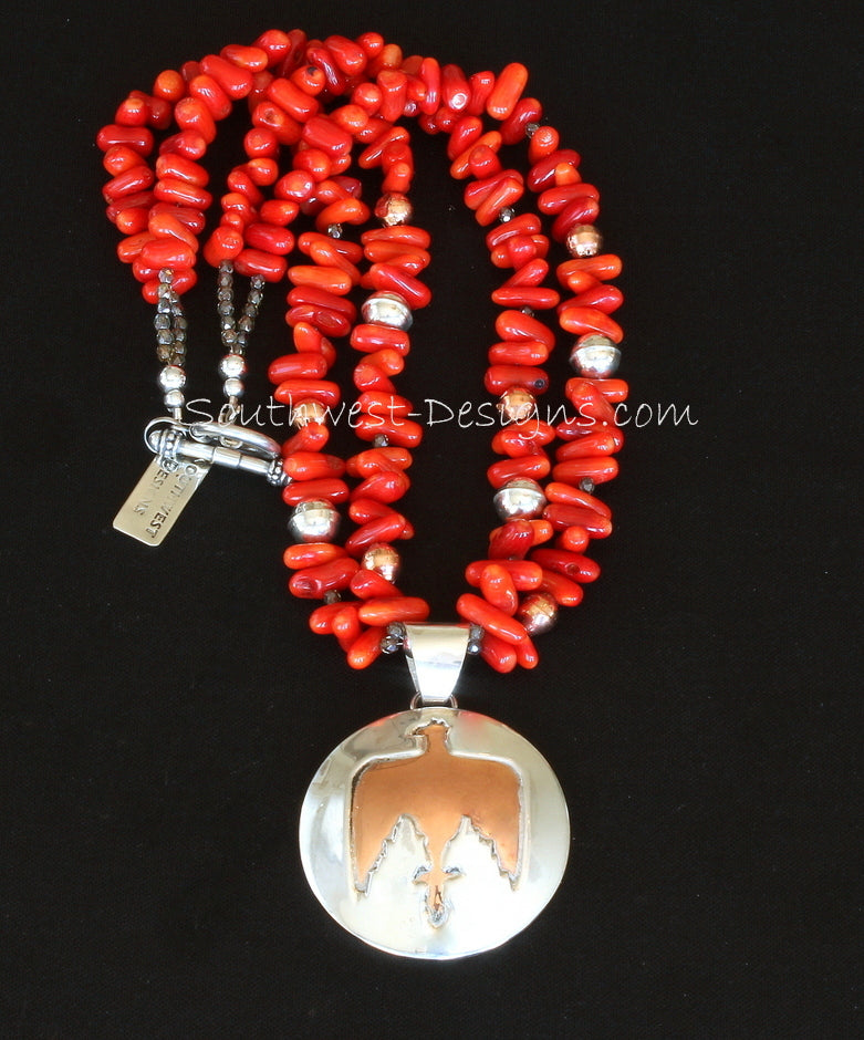 48mm Sterling Silver and Copper Thunderbird Pendant with 2 Strands of Coral Stick & Sterling