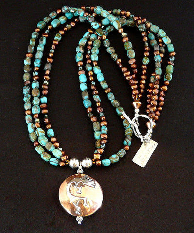 Sterling and Copper Pendant Necklace with Turquoise and Pearls
