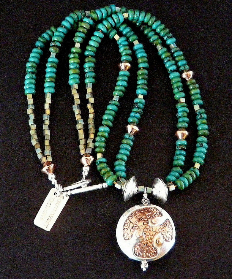 Sterling and Copper Pendant Necklace with Turquoise Rondelles