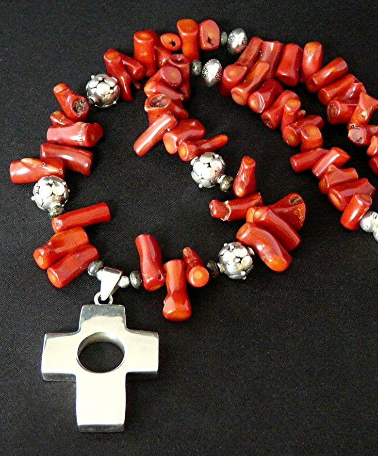 Sterling Silver Cross Pendant with Bamboo Coral End-Drilled Nuggets and Sterling Beads and Findings