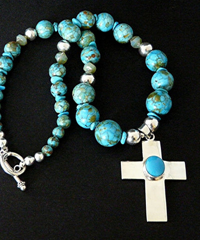 Turquoise and Sterling Silver Cross Pendant with Blue Gem Chip Turquoise Rounds, Czech Glass & Sterling