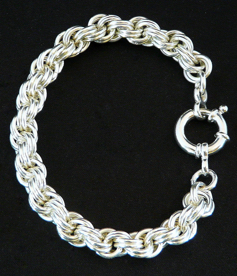 Sterling Silver 8.6mm Double Spiral Bracelet with Spring Ring Clasp