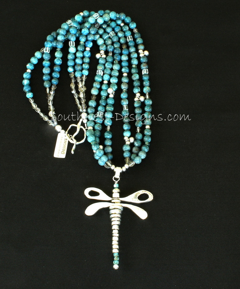 Sterling Silver Dragonfly Pendant with 3 Strands of Apatite Rounds, Indonesian & Fire Polished Glass, and Sterling Silver