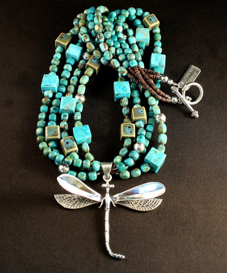 Sterling Silver Dragonfly Pendant with 4 Strands of Turquoise, Kingman Turquoise Cubes, Porcelain Cubes, Olive Shell Heishi & Sterling