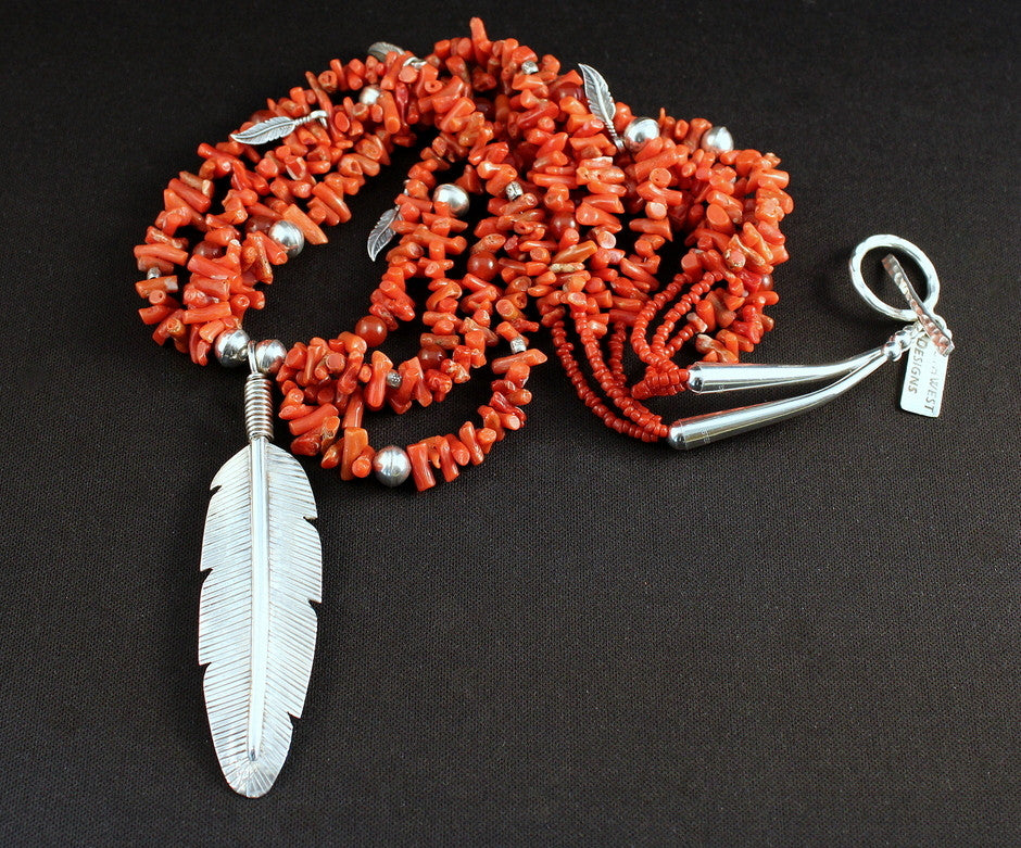 Sterling Silver Feather Pendant with 4 Strands of Italian Coral Cupolini, Carnelian Rounds, Sterling Feather Charms, and Sterling Silver Beads & Findings