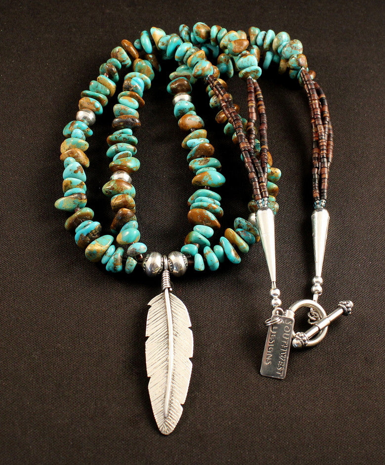 Sterling Silver Feather Pendant with Pilot Mountain and Kingman Turquoise Nuggets, Pen Shell Heishi and Sterling