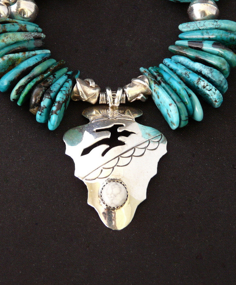 Hopi Sterling Silver Arrowhead Pendant with Turquoise Briolette