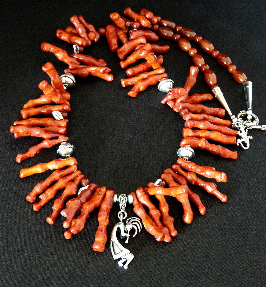 Sterling Silver Kokopelli and Coral Spike Necklace with Carnelian, Red Agate, Leaf Dangles & Sterling