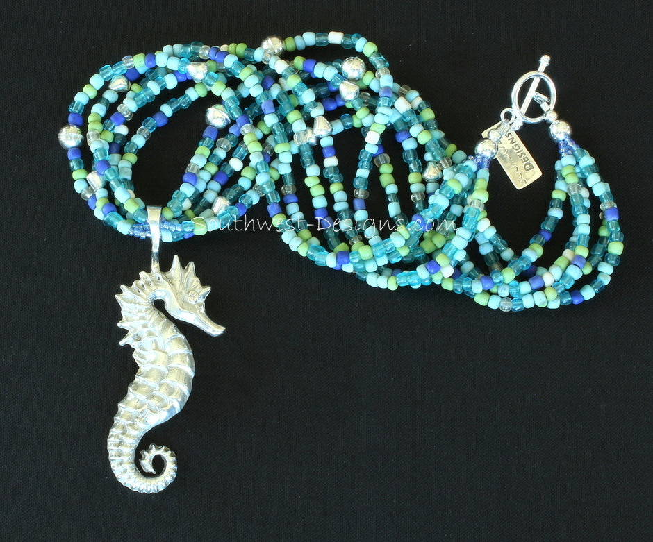 Sterling Silver Seahorse Pendant with 5 Strands of Indonesian Glass and Sterling Silver