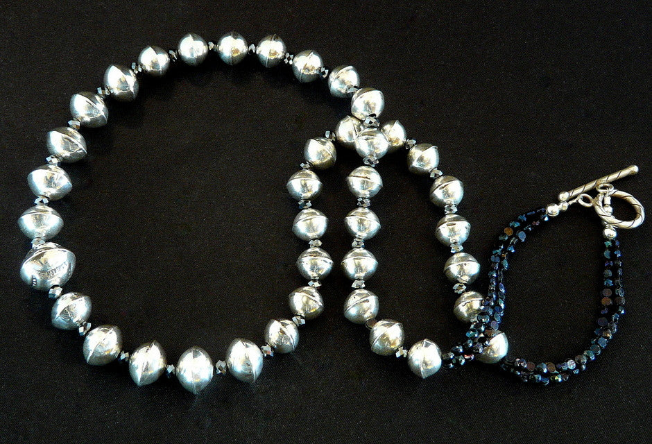Sterling Silver Bead Necklace with Vintage Nailheads