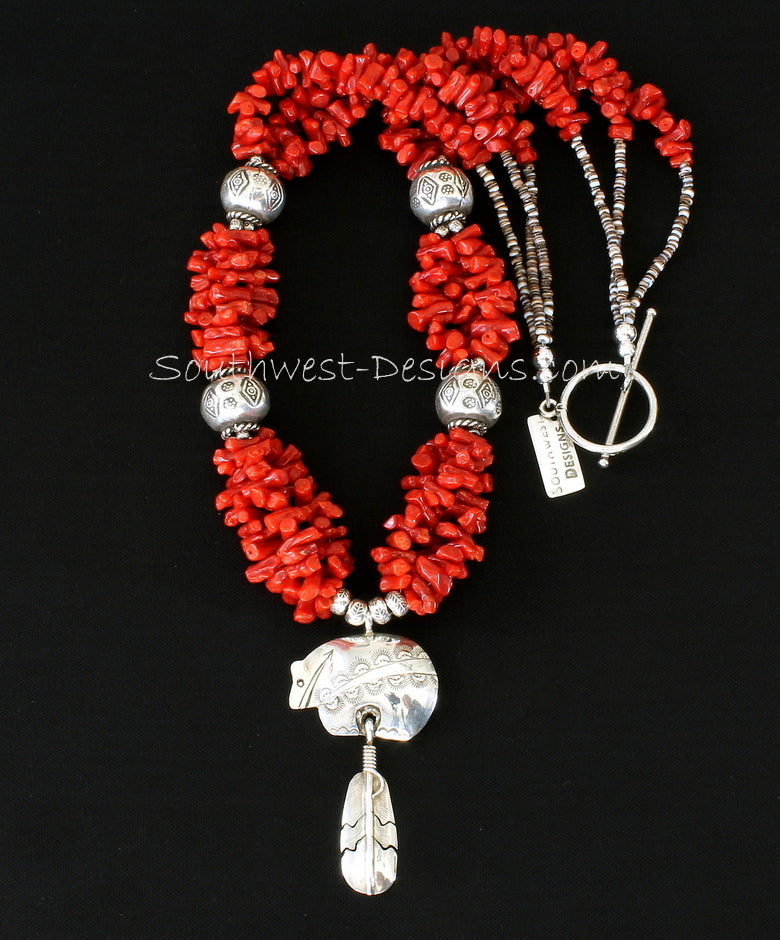 Sterling Silver Bear Pendant with 3 Strands of Italian Coral Cupolini, Hill Tribe Silver Stamped Rounds, Oyster Shell Heishi & Sterling
