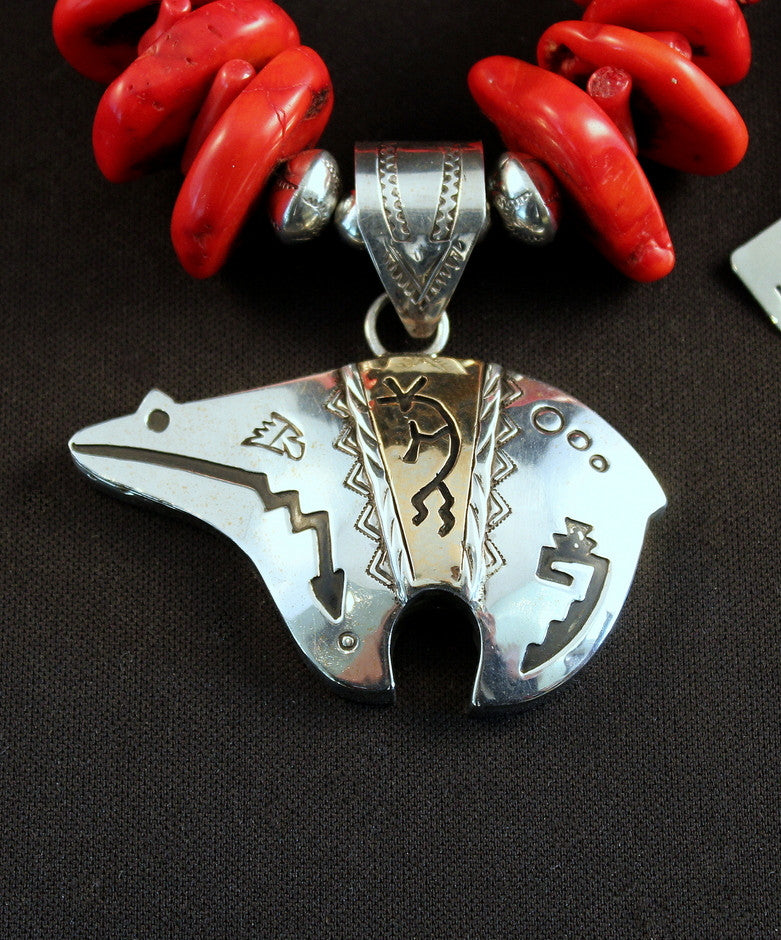 Sterling Silver Navajo Bear Pendant with Graduated Coral Disc, Coral Stick, and Stamped Sterling Silver Rondelles