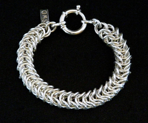 Sterling Silver 8.6mm Byzantine Box Link Bracelet with Spring Ring Clasp