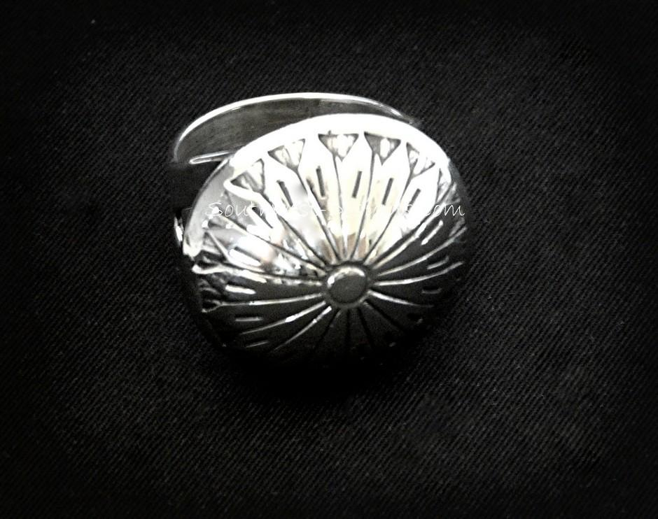 Sterling Silver Button Cover Ring with Notched Sterling Silver Band