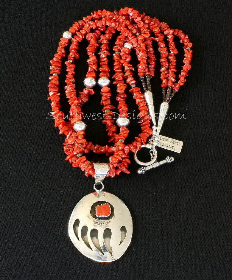 Sterling Silver and Coral Bear Paw Pendant with 3 Strands of Coral Nuggets and Sterling