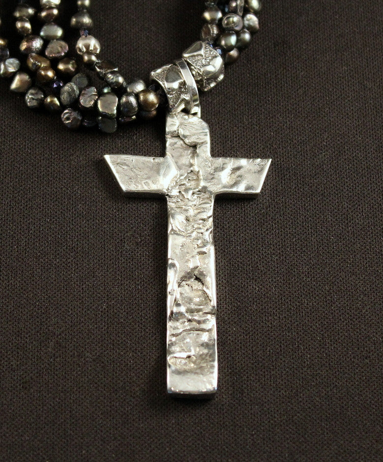 Sterling Silver and Reticulated Silver Cross with 4 Strands of Black Nugget Pearls, Czechoslovakian Nailheads and Sterling