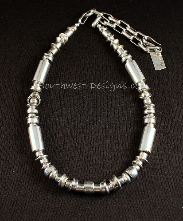 90-Piece Sterling Silver Cylinder Bead Necklace with Sterling Link Chain