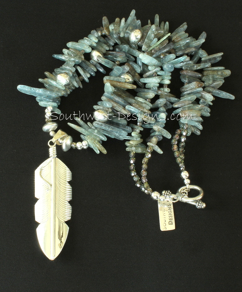 Chris Charley Sterling Silver Feather Pendant with 2 Strands of Kyanite Spikes and Sterling Silver Rondelle Beads
