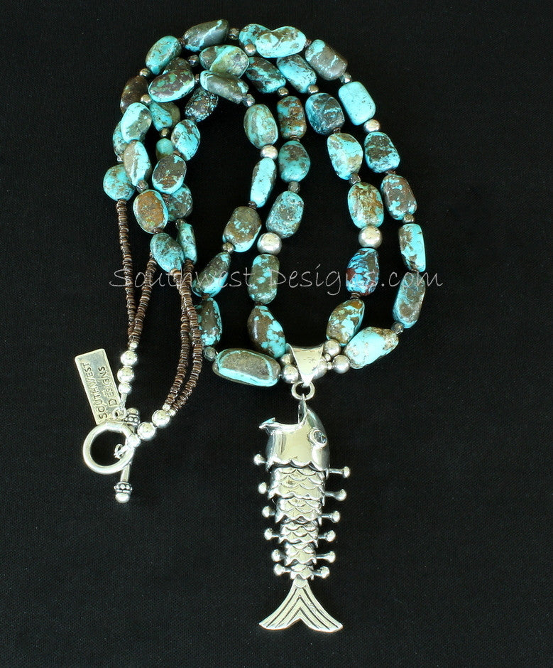 Sterling Silver Reticulated Fish Pendant with 2 Strands of Turquoise Nuggets, Pyrite, Fire Polished Glass and Sterling