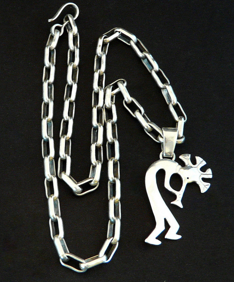 Sterling Silver Kokopelli Pendant on 22-Inch Sterling Silver Link Chain