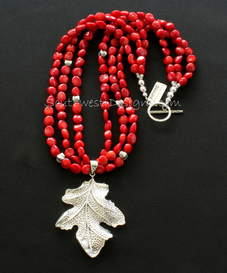 Sterling Silver Leaf Pendant with 3 Strands of Coral Ovals, Stamped Sterling Box Beads and Sterling Silver Toggle Clasp