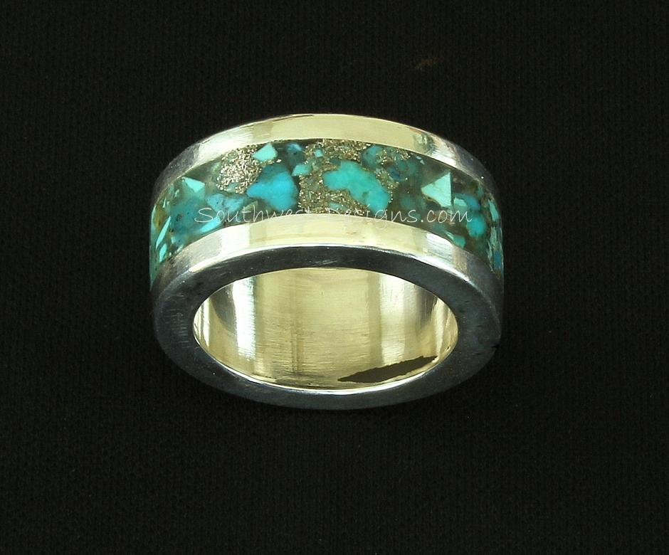 Sterling Silver Channel Ring with Inlaid Turquoise Chip