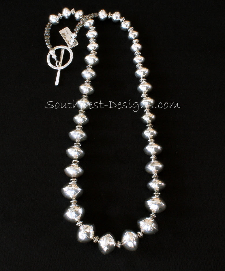 35-Piece Sterling Silver Rondelle Bead Necklace with Sterling Ornate Spacers and Hammered Sterling Toggle Clasp